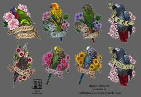 Birds and Flowers III by Kiriska