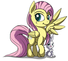 Fluttershy and Angel by Reenas