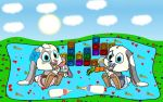Bunny Baby Couple Wallpaper by SchnuffelKuschel