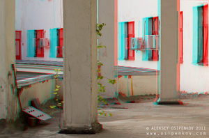 Who is hiding behind a pillar?  Anaglyph by Osipenkov