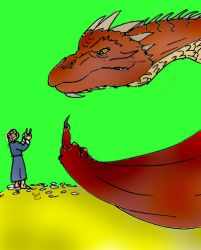 Smaug and Bilbo flipping the bird by Selinelle