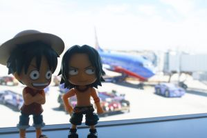 Luffy and Ace Take a Trip by here-and-faraway