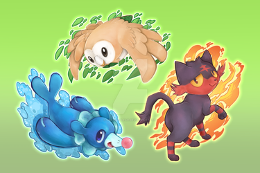 Sun and Moon Starters by GlacierClear