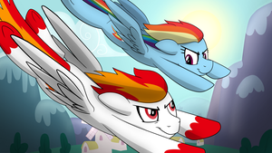 Flamerunner and Rainbow Dash by artwork-tee
