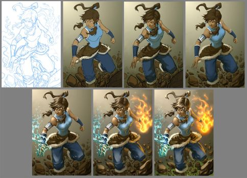 Korra Process by Quirkilicious