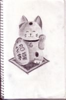 Maneki Neko Sketch by SilverFritillary