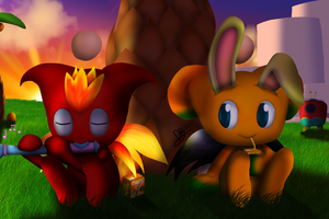 Chao World - Chilling on Sunset by DarkyBenji