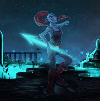 Undyne draws her finger accros her neck by Kaweii
