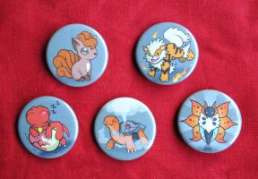 Pokemon Favorite Type Buttons - Fire Type Set
