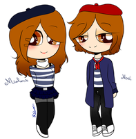 ~Mel and Melanie (new ocs + redisign) by Nini-the-inkling