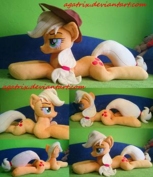 Life size (laying down) Applejack plush by agatrix
