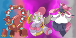 Volcanion Hoopa Diancie legends of Pokemon X and Y by Phatmon