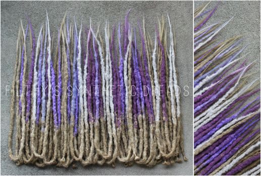 blonde and purple synthetic dreads by FilthyDreads