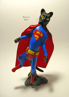 Superman cat sculpture by brutalsunstudio
