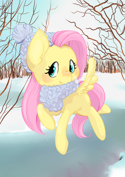 Fluttershy on ice by SquishyCuddle