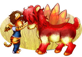 A Neopet and Her Petpet by PirateKay