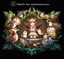 Angel and animals by kongyi