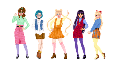 The Sailor Scouts by tiny-paper-stars