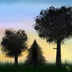 Sunset or Silhouette Trees Background by MsIDGAF