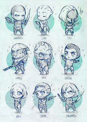 Mass Effect chibis Army by OkenKrow