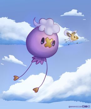 Flying Drifloon and Cutiefly by AluniArt