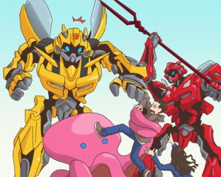 Cliffjumper and Bumblebee by yo-3