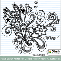 Hand Drawn Notebook Doodle Flower Brushes by Stockgraphicdesigns