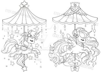 Celestial Carousel - Alicorn and Unicorn by YamPuff