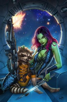 Guardians of the Galaxy print,pencils:D.McTeigue by sinhalite