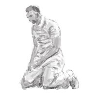 drawing practise study: cricketer by popicok