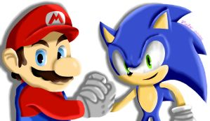 Mario and Sonic  by Selfie1991