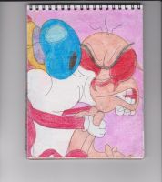 Stimpy Kissing Ren by RozStaw57