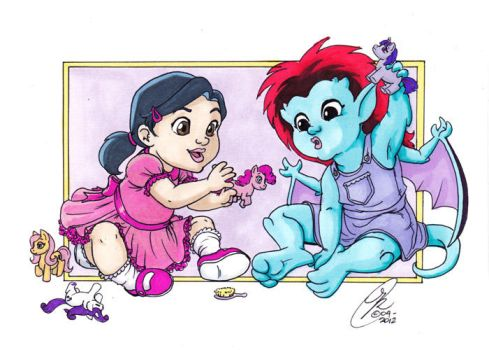 Baby Elisa and Demona by Kanthara
