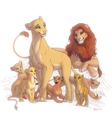 Lion familly by OmegaLioness