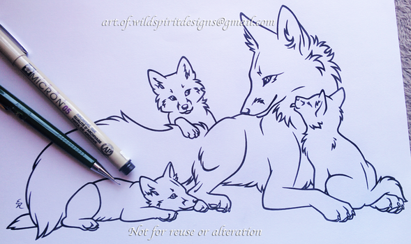 Fox Family - Mother + Kits - Lineart Commission by WildSpiritWolf