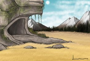 Cave in cliff by Louisetheanimator