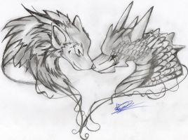 Lobo y Dragon / Wolf and dragon by wolf1818
