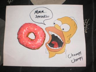 Homer Simpson Mmm Bright Bold Pink Frosting by HeroVictimVillain