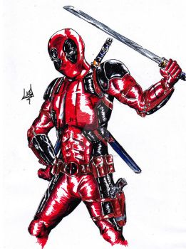 Deadpool Marker Sketch by Lostiousness