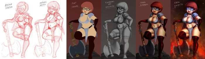 Velma the barbarian Painting process . by 14-bis