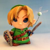 Link and Navi custom Micro Munny toy by Timbone