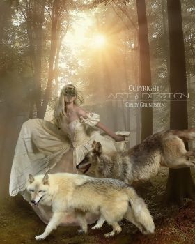Beauty and the wolfs by CindysArt