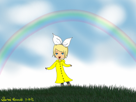 Kagamine Rin in Raincoat by sukalew