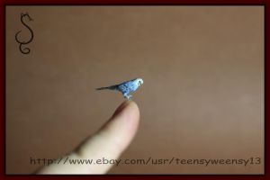 Miniature Dollhouse Blue Budgie Parakeet by Teensyweensybaby