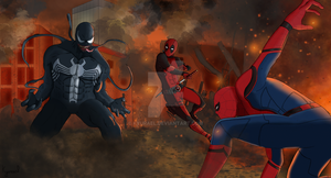 Spiderman and Deadpool vs Venom by Kyurael