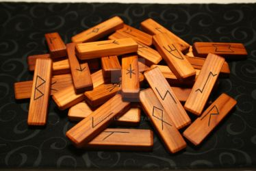 Pacific Yew Anglo Saxon Rune Set by tiscaitlin