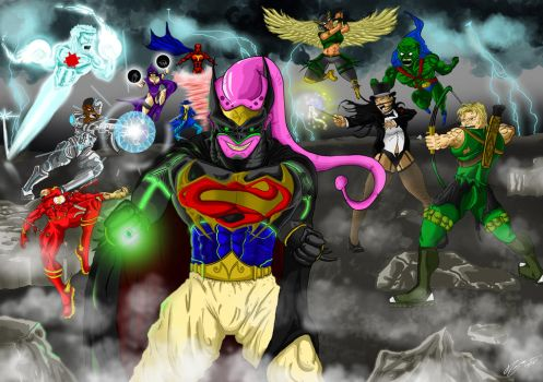 Majin Buu VS The Justice League by Conceptsart608