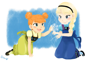Anna and Elsa by SkyDrew