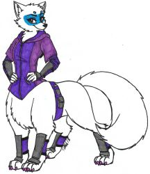 Alopex the Arctic Ninja Fox Taur - Colored by dragonheart07