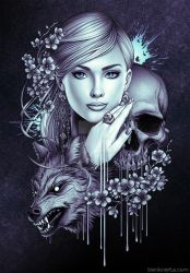 Wolf Skull and Girl